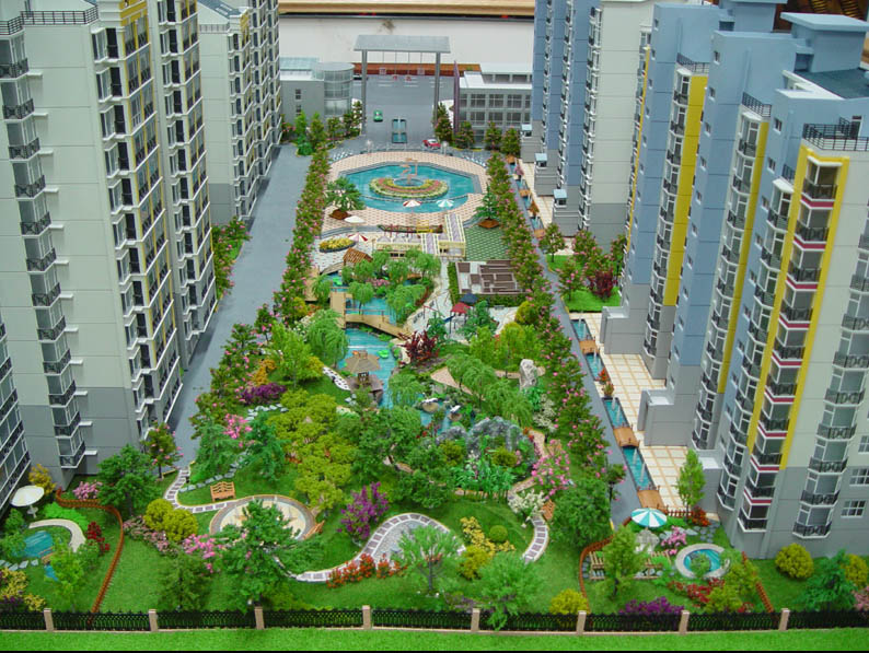 Modern Central Garden Landscape Miniature Model Architectural Scale Simple Apartment Landscape Design