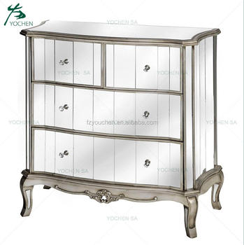 Antique French Style Mirrored Chest Of Drawers Silver Venetian Glass - Venetian glass bedroom furniture