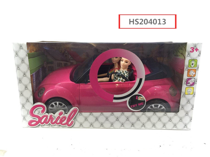 HS204013, Huwsin Toys, 11.5 inch doll ride on car, sound&light, girl toy