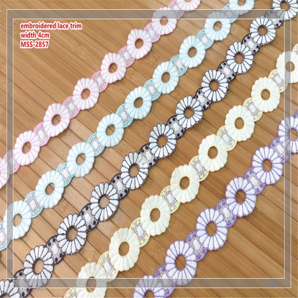 high quality 100% polyester 3 colors border lace trim