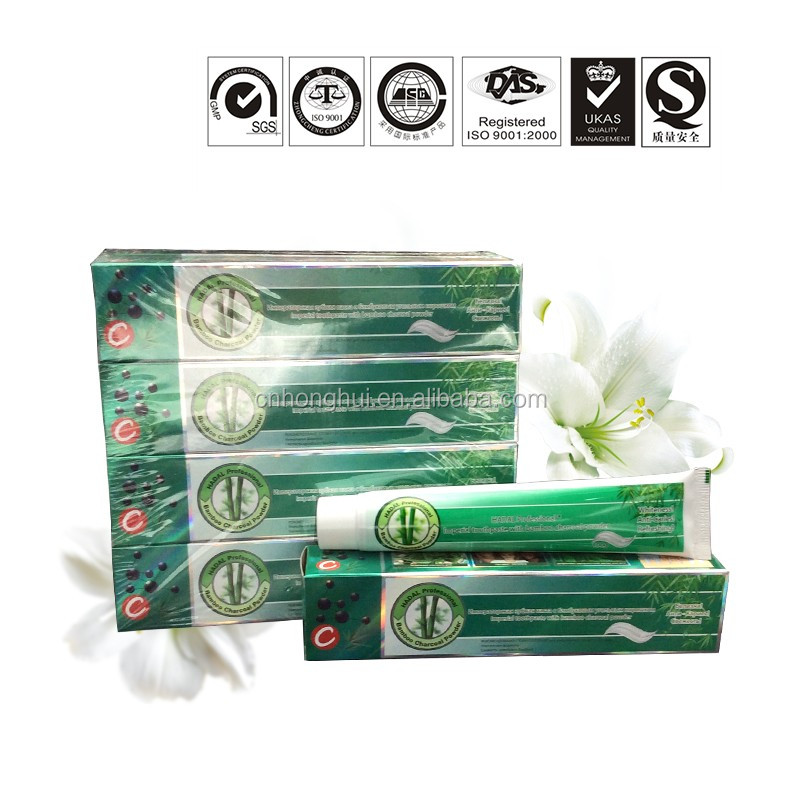 Bulk Brand Names Natural Herbal Charcoal Teeth Whitening Toothpaste Production Costs