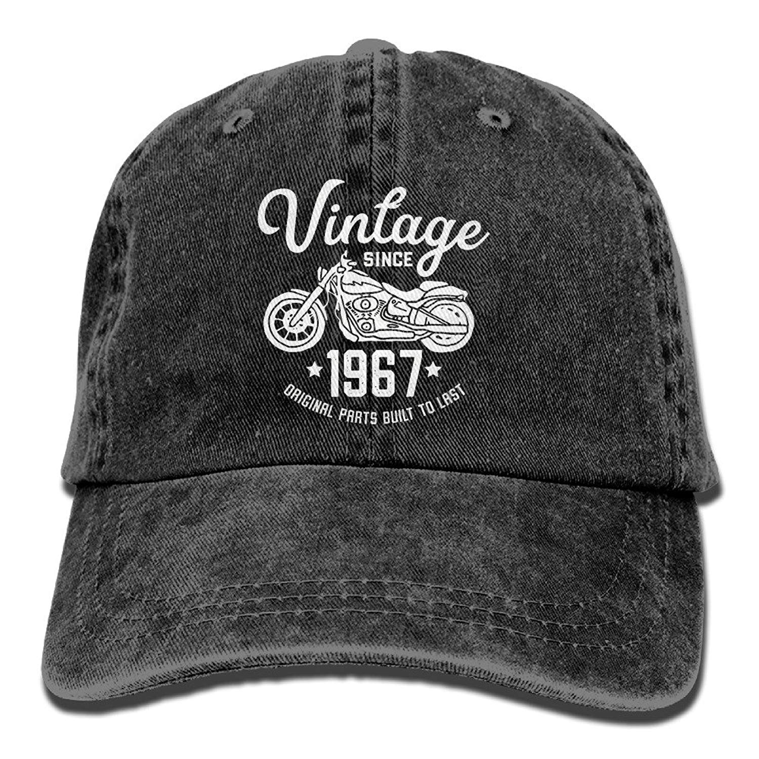 1c2bd806ddc Get Quotations · Adult Vintage Washed Dyed Cotton Adjustable Denim Baseball  Cap 50th Birthday Vintage Retro Motorcycle 1967 Rider