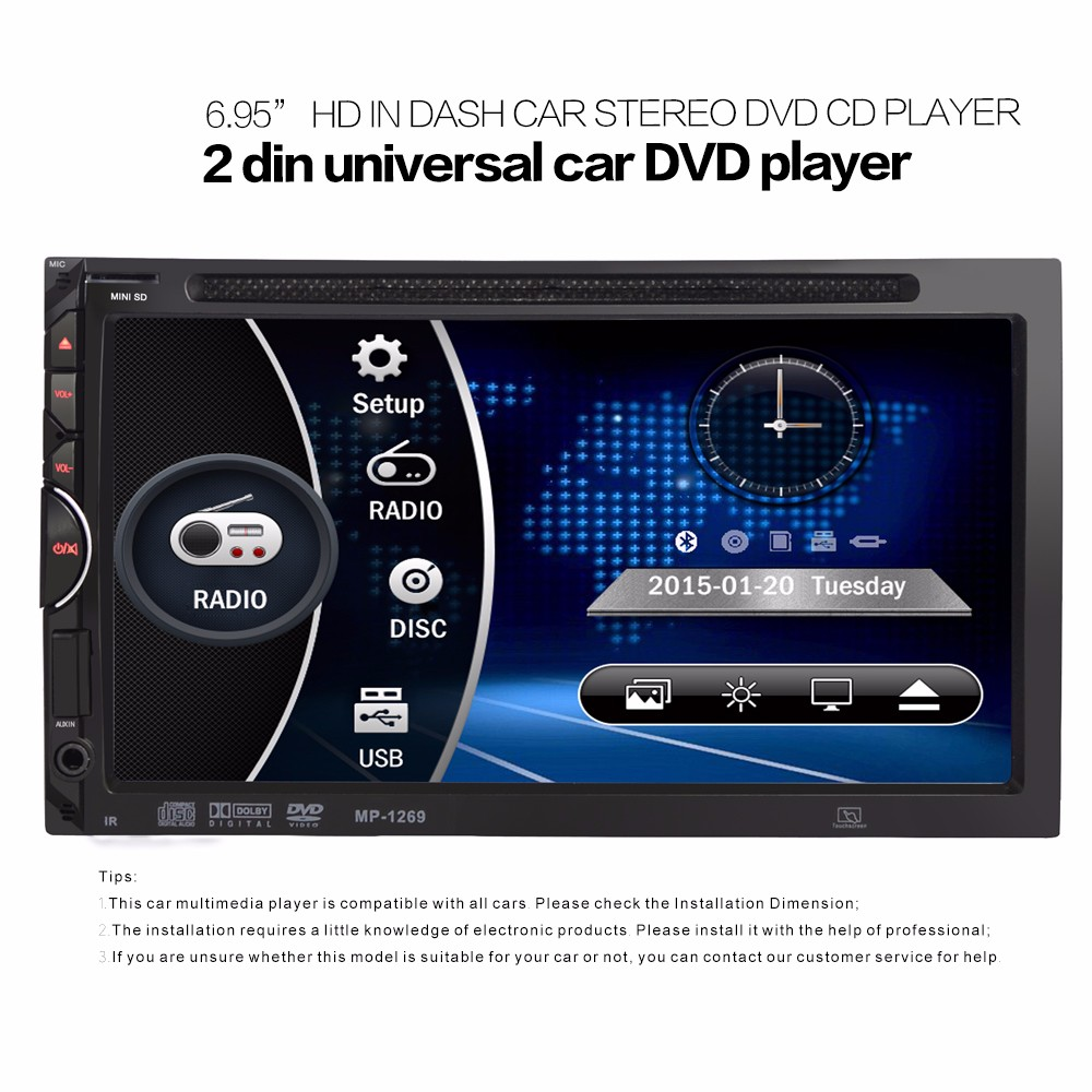 2 Din Car Video Player DVD 6.95'' HD Touch Screen Bluetooth Stereo Radio Car Audio Auto Electronics Support Rear View Camera