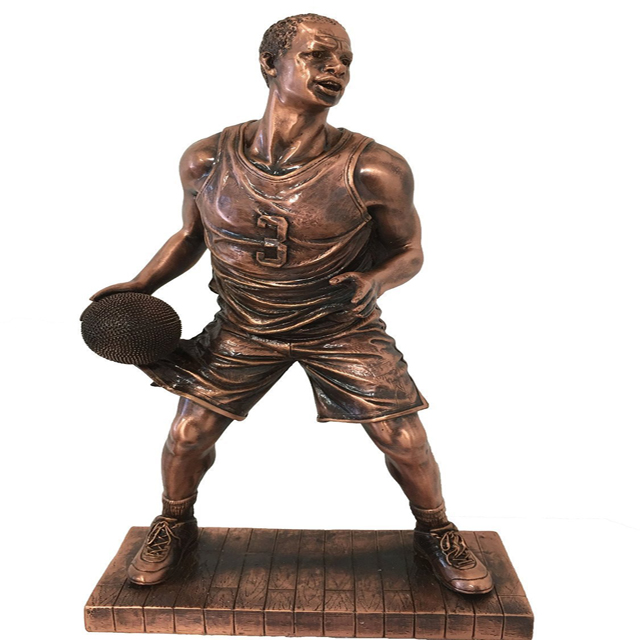 Copper Basketball Player Figurine