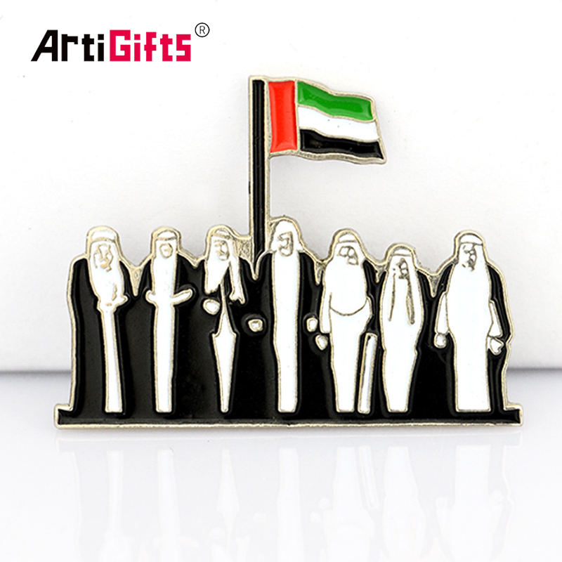 Zinc Alloy Funky Cloth Dubai Lapel Pin Badges Custom
