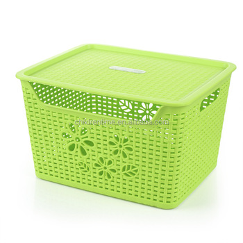 Plastic Square Rattan Laundry Basket Big Storage Basket With Lid