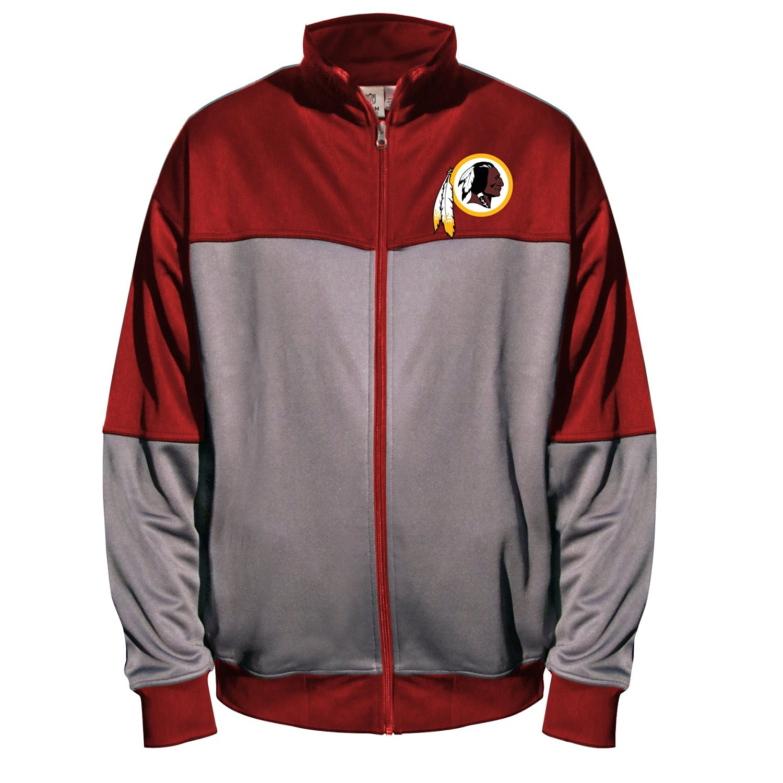 NFL Washington Redskins Unisex Poly Fleece Track Jacket, Charcoal/Garnet, 3XT