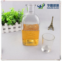 750ml empty clear square wine glass rhum bottles with top cork wholesale