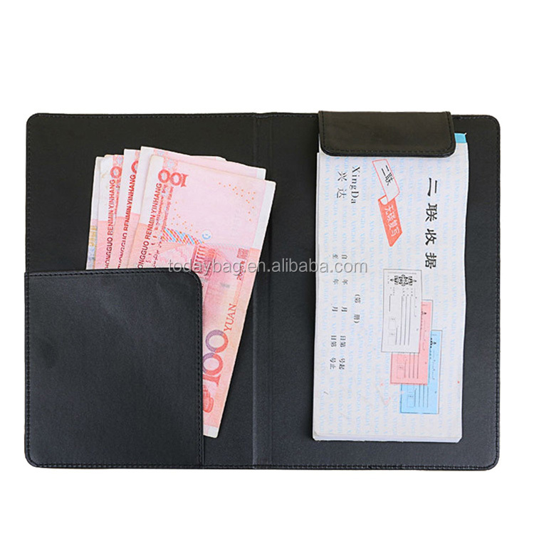 PU Leather Check Presenter Restaurant Money Receipt Holder