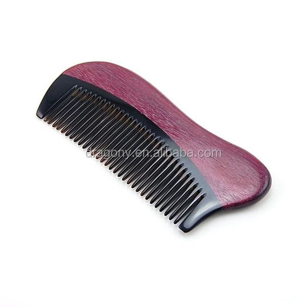 high quality gift health care violet green sandalwood wooden beard OEM personalize custom logo available ox Horn hair Comb