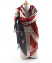 Hot Sale Mode Kepribadian Vintage Retro USA Flag Cetak <span class=keywords><strong>Voile</strong></span> Scarf