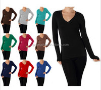 2015 Cheap Basic V NECK Long Sleeve Fitted Solid Top Plain Tee Shirt Junior Women tshirt