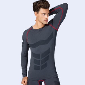 Workout Fitness Sports Running Yoga Athletic Tight T shirt Sports Long Sleeves Shirt for Men