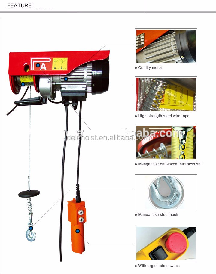 100//200 kg Electric Winch 200-1000 kg Steel Pulley Electric Crane Winch Winch Rope with Hook and Pulley Winch Electric Hoist