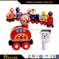 Top wooden doll magnetic train toy