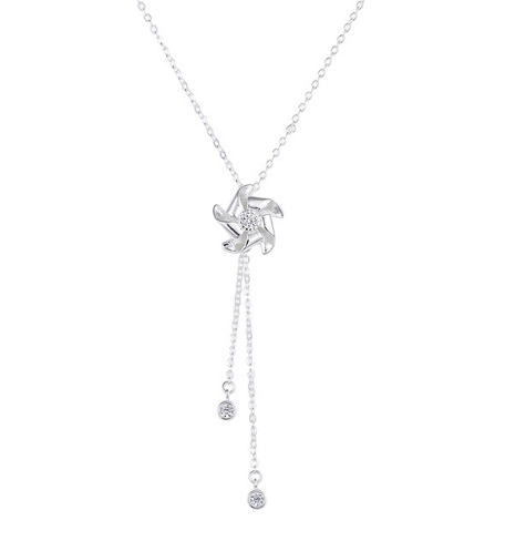 YCN6692 2017 New Arrival Hot Sell Windmill CZ Silver Necklace
