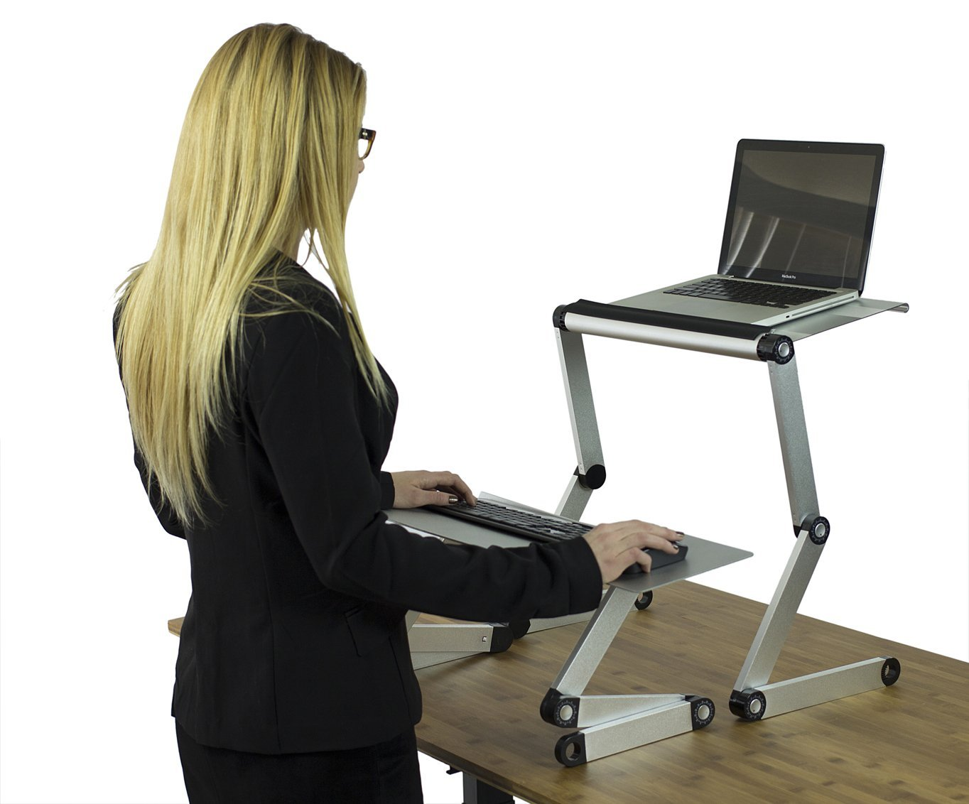 WorkEZ Standing Desk Conversion Kit. Affordable Adjustable Height & Angle Sit to Stand Up Desktop Riser Converter with Negative Tilt Keyboard Tray