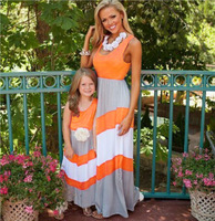 2017 amily Clothing Mother & Daughter Matching Outfit Beach Striped dress apparel