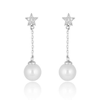 Korean Fashion Sparkling Crystal Small Star Wedding Earring S Silver Long Chain Dangle Pearl Earrings