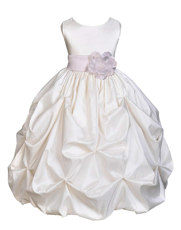 3e599802b3d Get Quotations · ekidsbridal Taffeta Ivory Flower Girl Dresses Holy  Communion Dress Baptism Dress Junior Dresses 301s