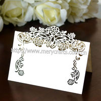 2014 wholesale unique laser cutting white wedding place cards for wedding favors