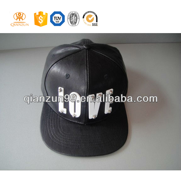black leather 3d white letter 6 panel snapback hats with leather strap