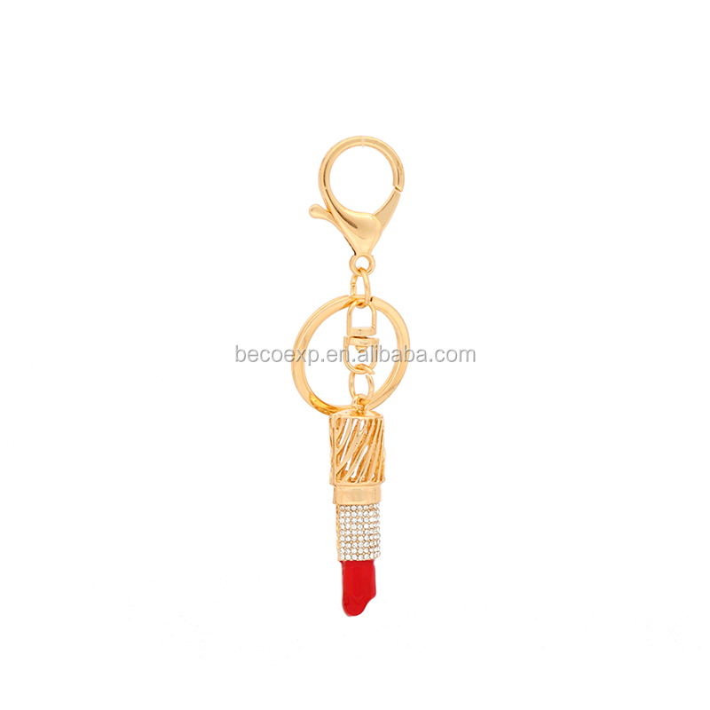 wholesale factory price ladies lipstick alloy keychain,plush toy keychain metal
