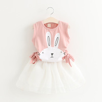 YD4097summer children clothing sets rabbit printed t-shirt and skirt kid clothing