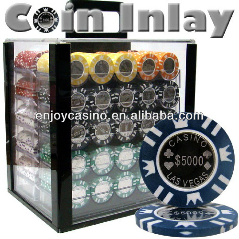 Coin inlay casino poker chip set met acryl case- 1000 stuk