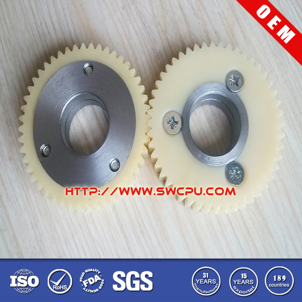 Metal bonded high strength plastic tooth gear