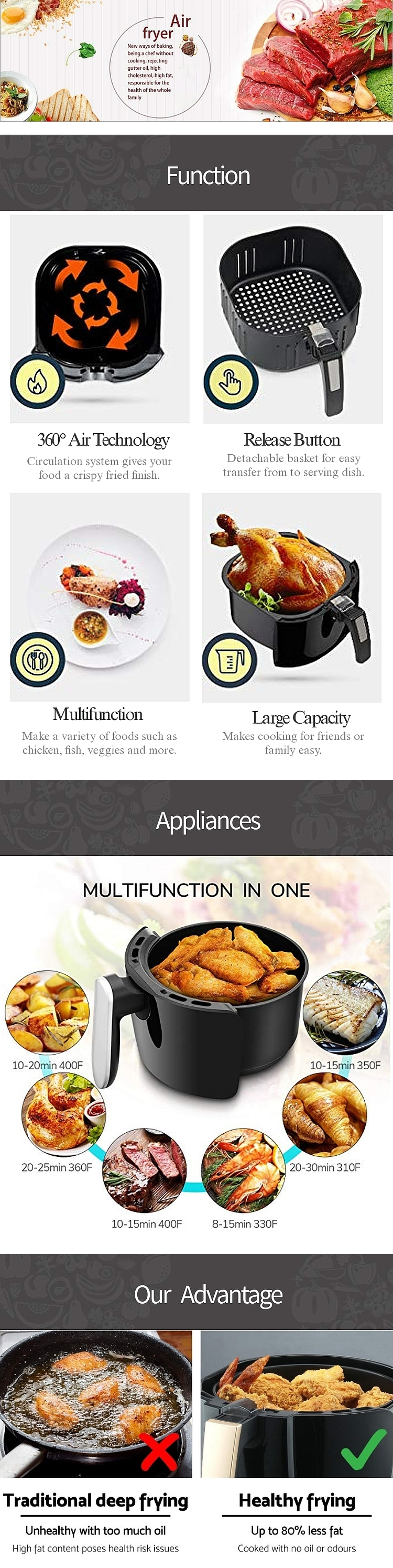 1.8L 2.3L Small Home Appliances Air Fryer No Oil
