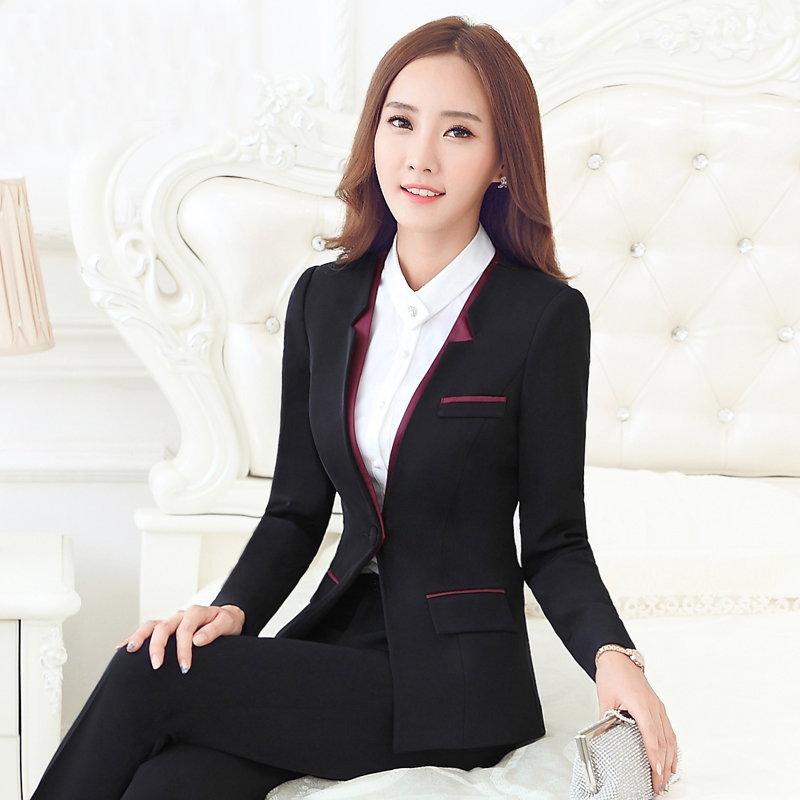 Cooperative Fall Winter Ladies Navy Blue Blazer Women Business Suits With Pant And Jacket Set Work Wear Office Uniform Styles Pant Suits