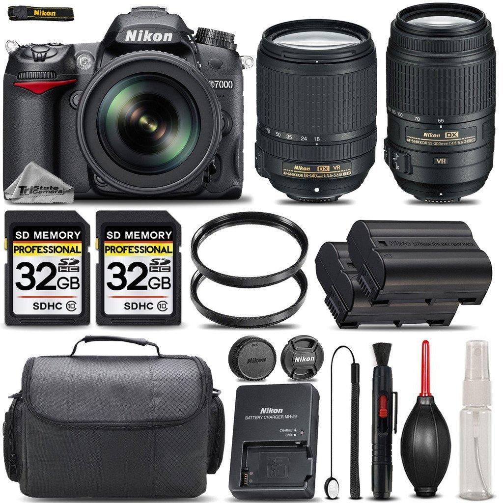 Nikon D7000 DSLR Camera +Nikon 18-140mm VR LENS +55-300mm VR-SAVE BIG BUNDLE KIT - International Version