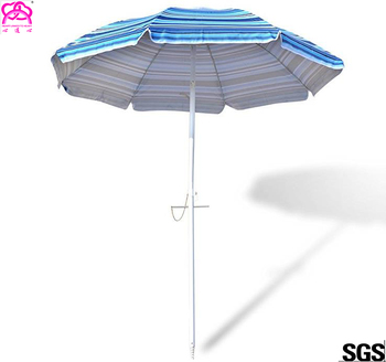 7 Ft Sand Anchor Beach Umbrella Adjustable Height With Air Vent Zinc
