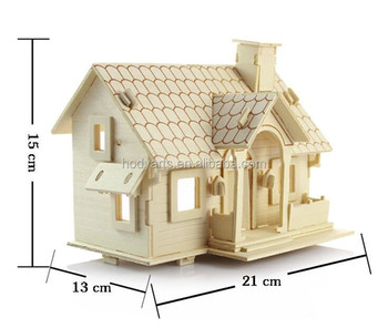 Wholesale New Design and High Quality Children Educational and Practical 3D Wooden Jigsaw Puzzle House