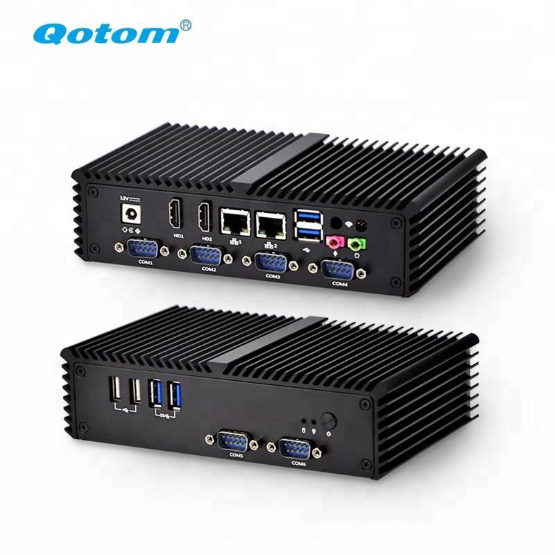 Qotom Mini pc barebone system,AES-NI fanless linux Ubuntu Mini PC i5 computer hardware gaming computer Q350P with 6RS232