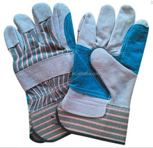 China manufacturer green stripe back double palm leather gloves BC grade