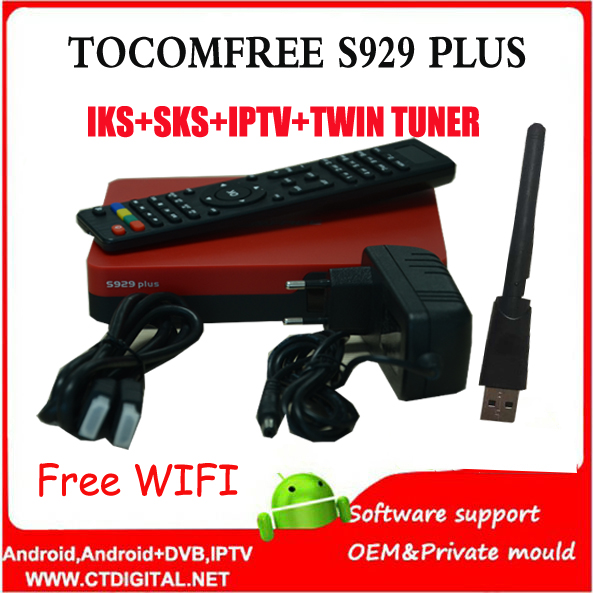 Free Ikssks Satellite Receptor Tocomfree S929 For South America With Wifi 3G
