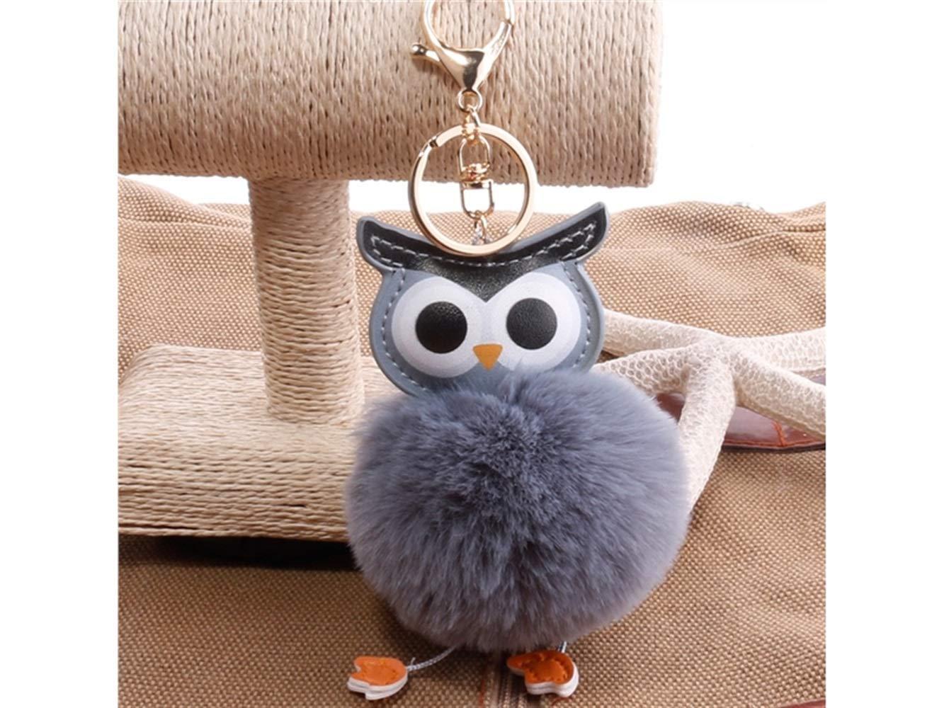 35c85d451 Get Quotations · Gelaiken Plush Keyring Soft Plush Ball Keychain?Double-Sided  PU Owl Keyring Ladies Bag