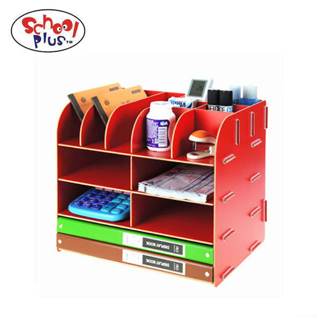 Wood Board Desktop Organizer Rack w/ 2 Document / Magazine Slots, Shelf Cubbies & Office Supply Holder