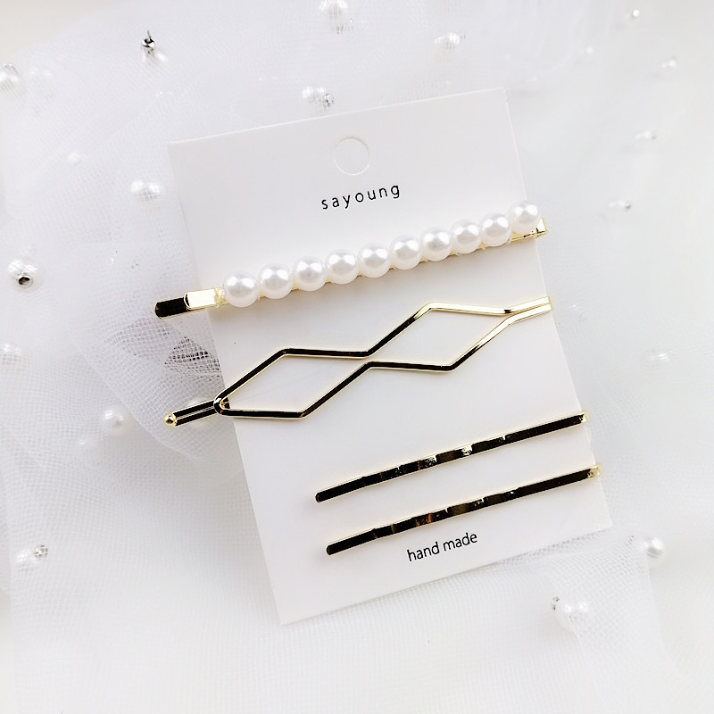 3Pcs/Set Women Pearl Hair Clip Bobby Pin Barrette Pearl Metal Hairpin Set for Hair Accessories