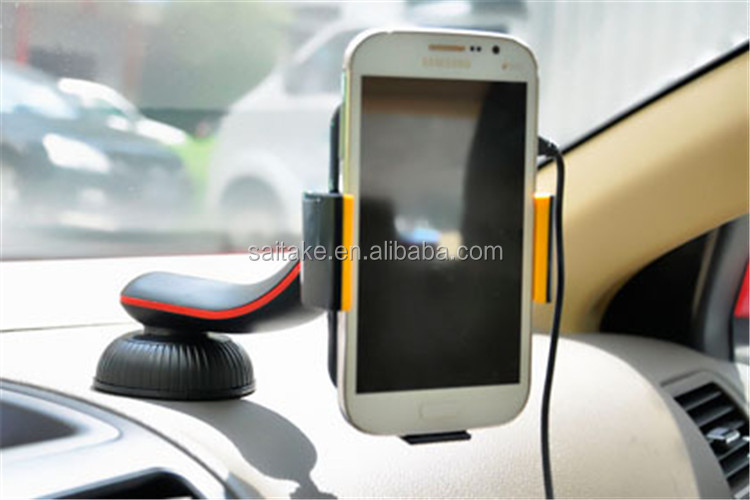 Qi wireless car charger charging stand at car board in a ease cjharging for Iphone