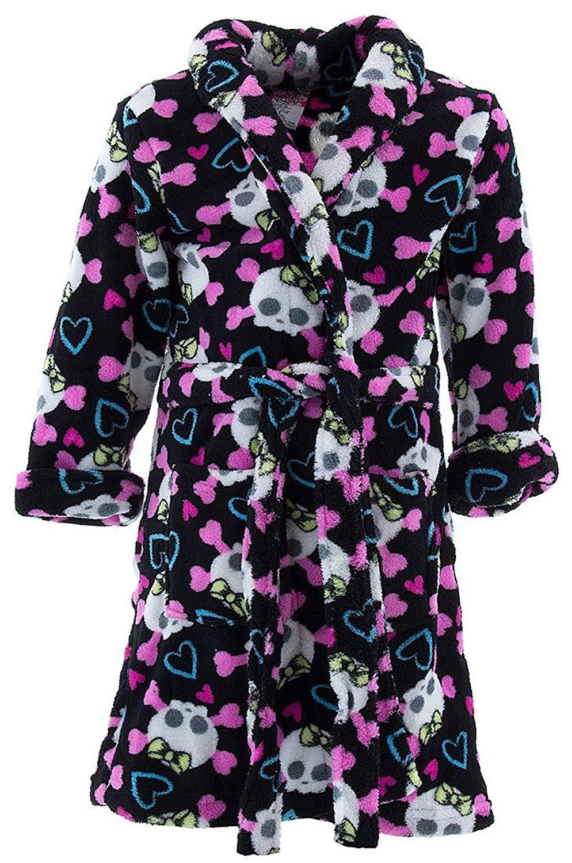 Kids Girls Boys Coral Fleece Bathrobe Unisex Kids Robe Pajamas Sleepwear.  Get Quotations · Sweet and Sassy Little Girls  Black Skull Fleece Bathrobe c6d162bc8