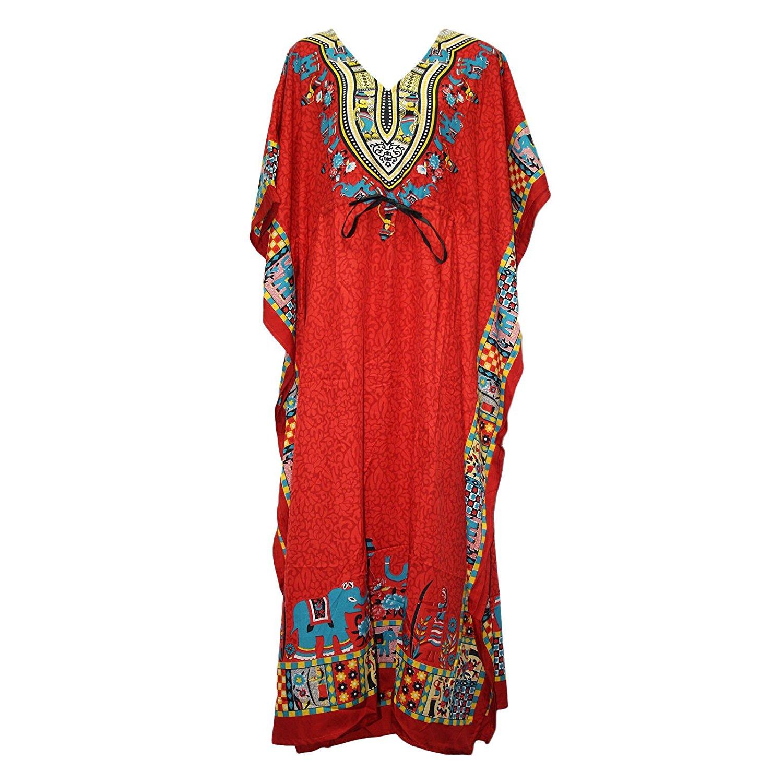 d15e2280d79 Get Quotations · Odishabazaar Womens Plus Size Boho Hippie Dashiki Print  Kaftan Dress