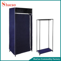 Blue Color Non Woven Fabric Folding Portable Wardrobe