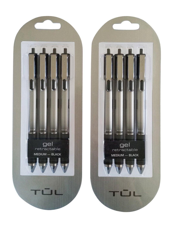 TUL Retractable Gel Pens 0.7mm Medium Point, Black Bundle (2 4-packs)