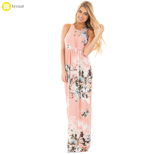 2018 Summer Floral Print Elegant Party Beach Boho Long Dresses Hot Pink Maxi Dress