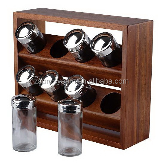 Wooden Salt and Pepper Spice Rack with 8 Small Glass or Acrylic Spice bottles