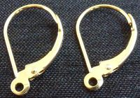 Solid 14Kt Gold Leverback earrings with closed loop earring findings