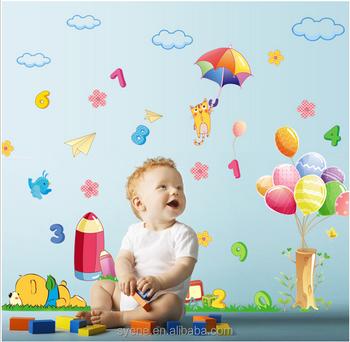 Syene 3d Autocollants De Dessin Animé Pour La Peinture Murale Ballon Nuage  Blanc Stickers Muraux Enfants Pour Enfants Chambres Bébé Décoration ...